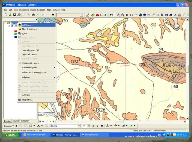 پاورپوینت چگونگی تهیه نقشه از طریق Arc Gis