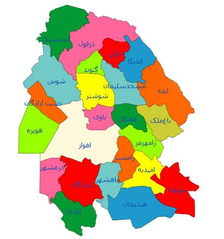 نقشه جی ای اس استان خوزستان
