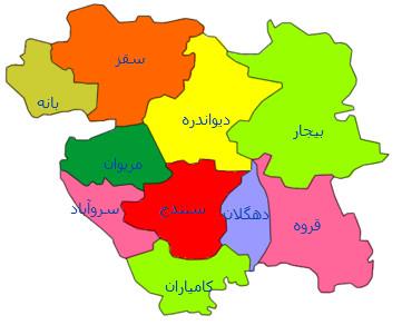 نقشه جی ای اس استان کردستان