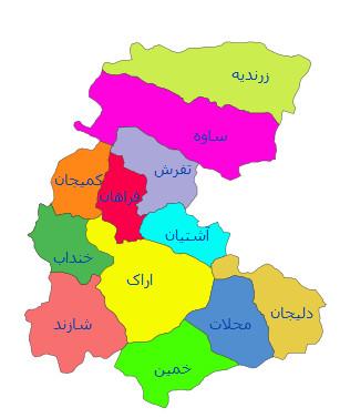 نقشه جی ای اس استان مرکزی