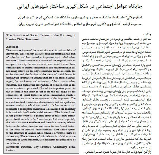 جایگاه عوامل اجتماعی در شکل گیری ساختار شهرهای ایرانی