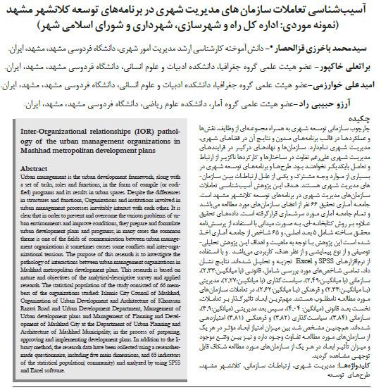 آسیب شناسی تعاملات سازمان های مدیریت شهری در برنامه های توسعه کلانشهر مشهد