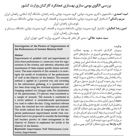 بررسی الگوی بومی سازی بهسازی عملکرد کارکنان وزارت کشور