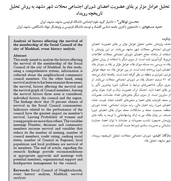 تحلیل عوامل مؤثر بر بقای عضویت اعضای شورای اجتماعی محلات شهر مشهد به روش تحلیل تاریخچه رویداد